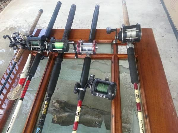 deep sea fishing large and medium lures few rods reels
