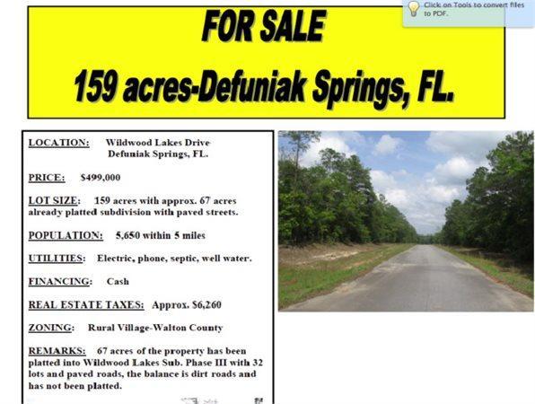 Defuniak Springs, FL Walton Country Land 159.750000