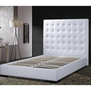Delano Leather Platform Bed W Tall Headboard White Black
