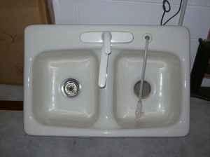 Delta Kitchen Faucet With Cast Iron Double Sink Orlando