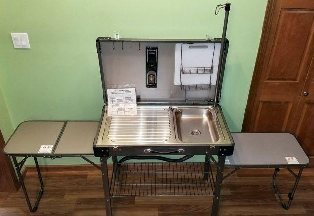Deluxe portable fold up camping kitchen sink table for Sale in Fdl ...