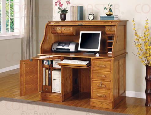 Deluxe Roll Top Computer Desks Oak Or Cherry New Sale