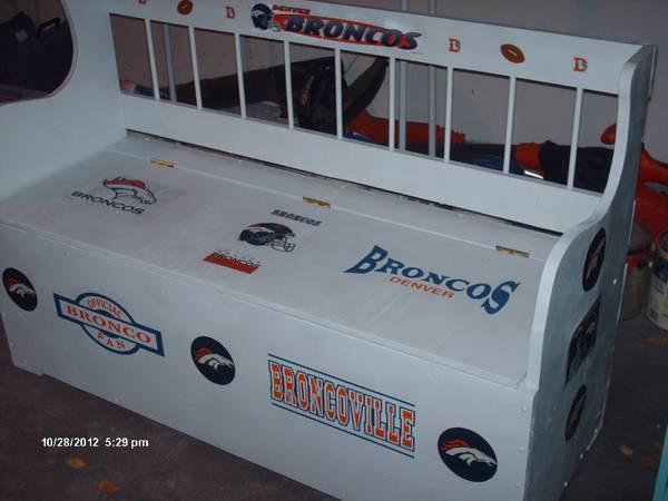 Man Caves For Sale Denver : Denver broncos storage bench seat man cave toy box sports
