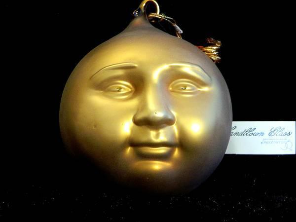 Department 56 Hand Blown Murcury Glass Moon Face Ornament