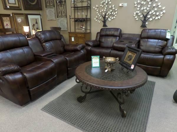 Design House Eddie Bauer Reclining Leather Sofa With Cupholders