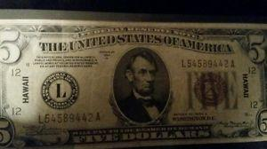 Details about  1934-A Hawaii five dollar bill brown seal rare emergency currency.