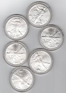 Details About 6 1 Oz American Silver Eagle Coin From Roll 999 Fine 6 Total Oz Gem Bu For Sale