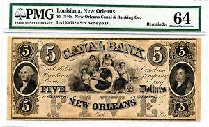 Details about �1840'S $5 LOUISIANA NEW ORLEANS GW CANAL