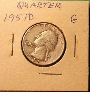 Details about �1951-D WASHINGTON QUARTER #318 G