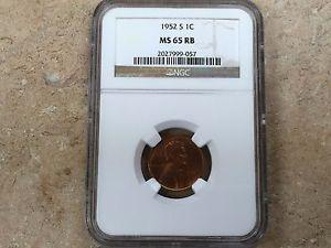 Details about �1952-S 1C Lincoln Cent NGC MS 65 RB