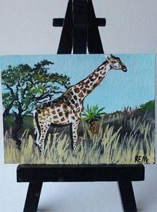 Details about �ACEO ORIGINAL PAINTING GIRAFFE SIGNED BY
