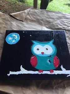 Details about �Cartoon Owl ORIGINAL Canvas Acrylic
