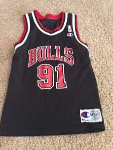 huge discount 6650b 7d9a7 Details about Dennis Rodman Chicago Bulls Champion VTG Jersey Youth M 10-12  Old School NBA