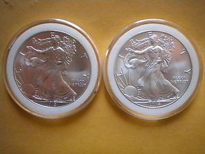 Details About Lot Of 2 Coins 2013 2014 1 Oz American Silver Eagle Gem Bu Coins 999 Fine Silver