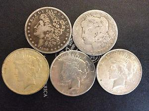 Details about �Lot of (5) Peace and Morgan Silver