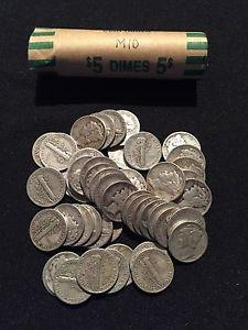 Details about Lot of 50 Silver Mercury Dimes PDS Mix Avg Grade - Fine $5 FV Roll Lot A11