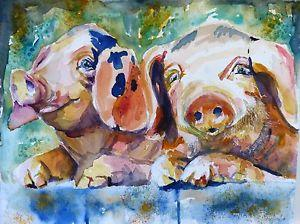 details about original impressionistic watercolor pigs painting by