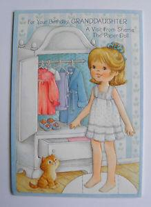 Details about Vintage HALLMARK SHERRIE PAPER DOLL Birthday Card GRANDDAUGHTER Uncut 50B 992-7