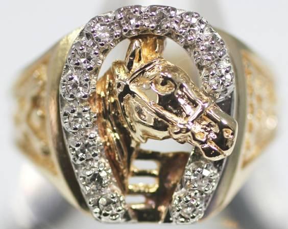 Diamond horseshoe horse head ring for sale in santa for Santa maria jewelry company