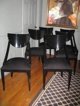 DINING CHAIRS BLACK LACQUER VINTAGE