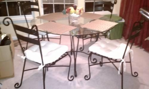 pier 1 round kitchen table with bench dining wrought iron glass scroll design one tall