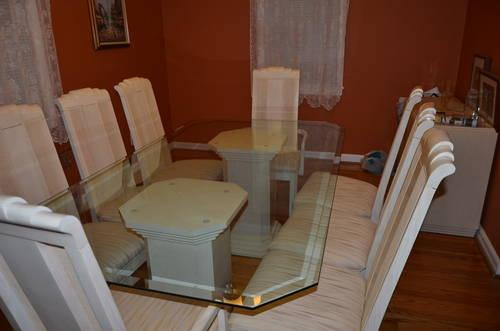 DINING ROOM SET GLASS TABLE 8 Chairs