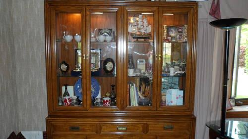 dining room set with lighted china cabinet and six chairs for sale in