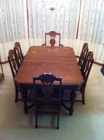 Terrific Dining Room Table W 2 Leaves 6 Chairs Carved Antique Late Machost Co Dining Chair Design Ideas Machostcouk