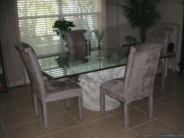 Dining Set Glass Top Double Dolphin Base For Sale In