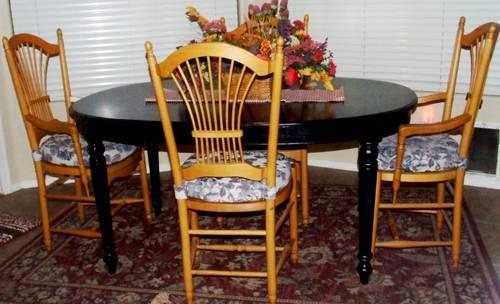 Dining Table And 4 Chairs Black And Golden Oak Wheatback Chairs For Sale