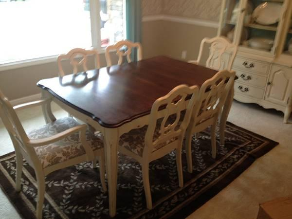 Dining Table Chairs And China Hutch Antique Refinished