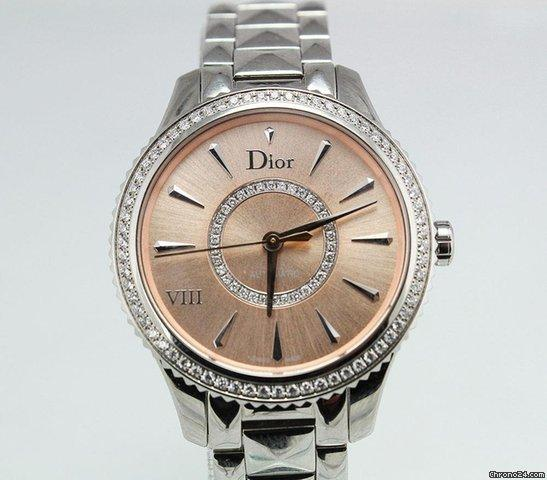 Dior VIII Montaigne Diamond Bezel Salmon Dial 32mm