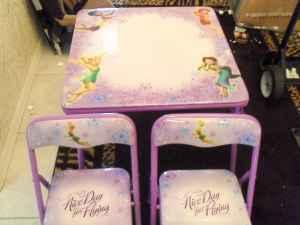 DISNEY TINKERBELL FAIRIES TABLE & CHAIRS SET - PADDED - ERASABLE TOP ...