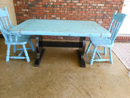 Distressed Turquoise Blue And Black Two Toned Table And