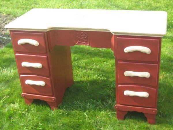 Distressed Vintage Red Desk Matthews for Sale in