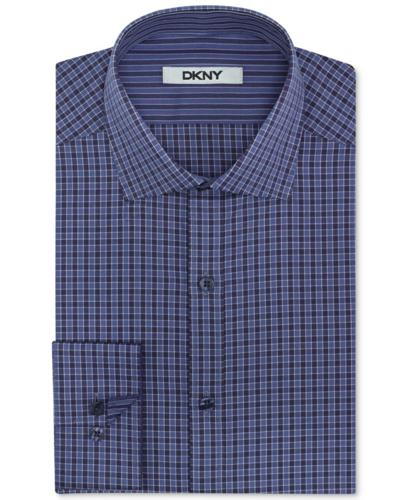DKNY Dress Shirt, Blue Velvet Check Long-Sleeved Shirt
