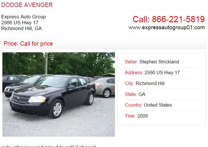 Used Cars Here Pay Here Savannah Ga >> DODGE AVENGER for Sale in Richmond Hill, Georgia ...
