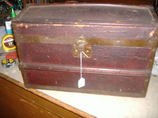 Domed Leatherette Wood Steamer Trunk Vintage Antique Chest Box Childs - $145