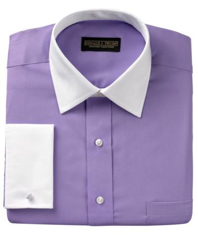 Donald Trump Dress Shirt Solid White Collar French Cuff