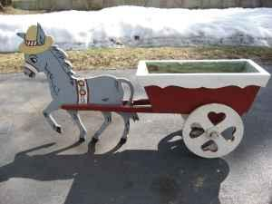 Donkey With Cart Antique Yard Ornament 60 Years Old