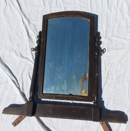 Dresser Mirror With Swivel Mount Antique Bureau Vintage