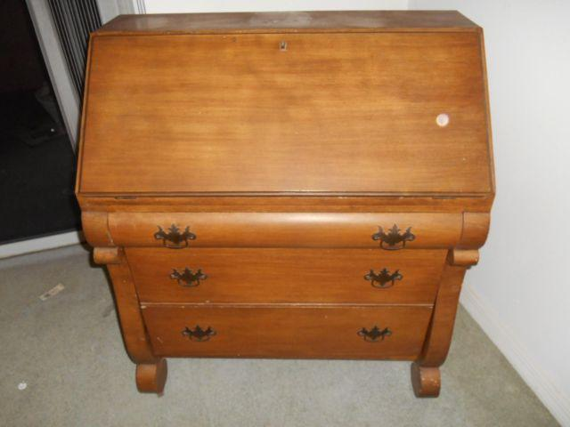 Drop Front Secretary Desk 3 Drawers On Wheels