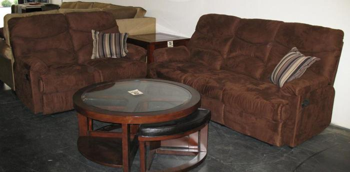 Dual Reclining Dark Brown Sofa Love Turlock Furniture Outlet For Sale In Modesto