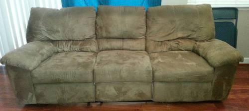 Dual Reclining Microfiber Sofa With Matching