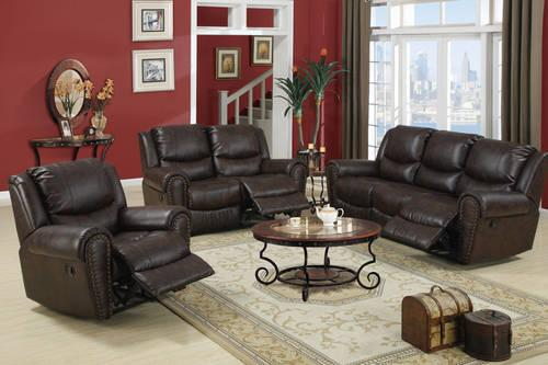 Dual Reclining Motion Sofa Dark Leather With Nail Head