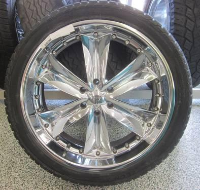 DUB 24 INCH CHROME RIMS & TIRES - 6 LUG
