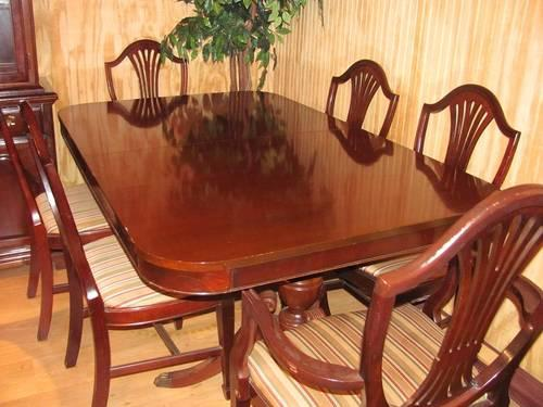 Duncan Phyfe Table, 2 Leaves, 6 Chairs U0026 China Cabinet