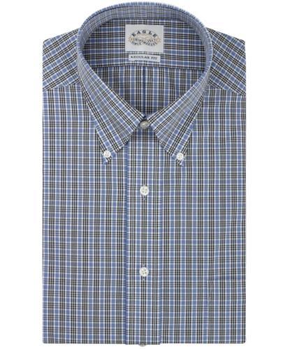 Eagle dress shirt no iron slim fit blue and black multi for No iron slim fit dress shirts