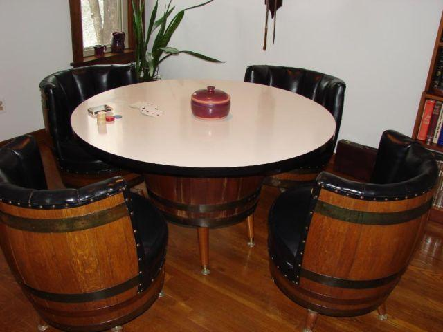 Eating Established Poker Table Plus 4 Chairs Made From