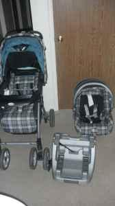 EDDIE BAUER TEAL AND BLACK STROLLER AND CAR SEAT SET - (Vacaville ...